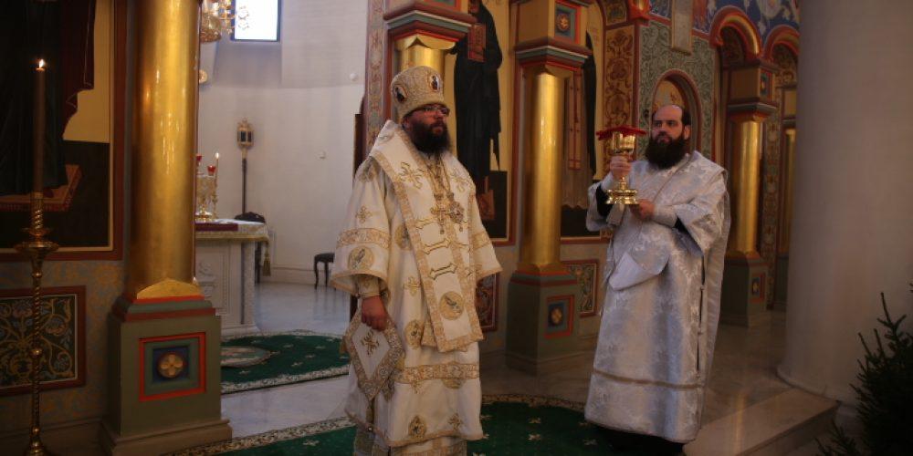 Архиепископ Егорьевский Матфей совершил Литургию в храме преподобного Серафима Саровского в Раеве
