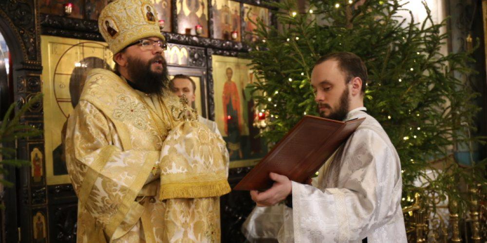 В праздник Рождества Христова архиепископ Матфей совершил Литургию в храме святых мучеников Адриана и Наталии в Бабушкине
