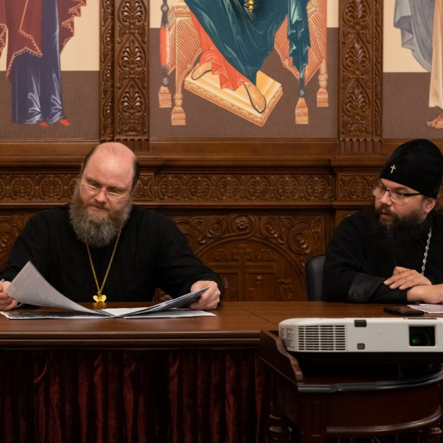 Председатель ФХУ архимандрит Илия (Руднев) и архиепископ Егорьевский Матфей провели совещание по строительству объектов религиозного назначения в Северо-Восточном викариатстве г. Москвы