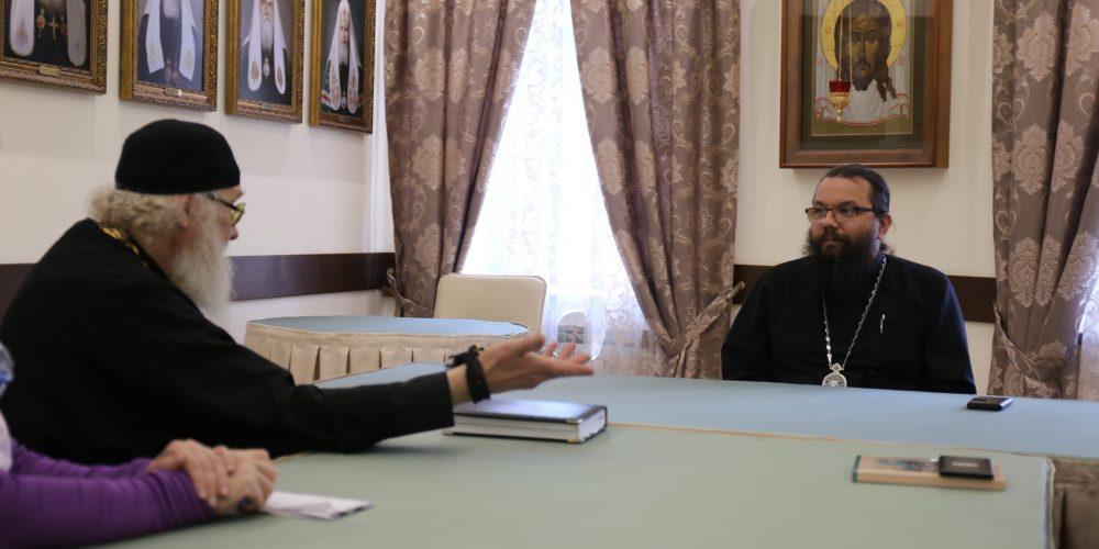Состоялась встреча архиепископа Егорьевского Матфея с известным пастырем и педагогом игуменом Киприаном (Ященко)
